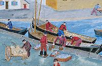 Europe/France/Bretagne/29/Finistère/Saint-Pierre-Penmarc'h: Mur peint représentant des scènes de la vie bigoudène - retour de la pêche