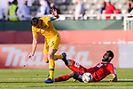 Mark Milligan of Australia (L) gets tripped as he competes for the ball with Mohammed Darwish of Palestine (R) during the AFC Asian Cup UAE 2019 Group B match between Palestine (PLE) and Australia (AUS) at Rashid Stadium on 11 January 2019 in Dubai, United Arab Emirates. Photo by Marcio Rodrigo Machado / Power Sport Images