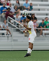 HARTFORD, CT - AUGUST 17: Zeiko Lewis #10 of Charleston Battery heads the ball during a game between Charleston Battery and Hartford Athletic at Dillon Stadium on August 17, 2021 in Hartford, Connecticut.