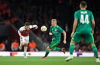Lucas Torreira of Arsenal & Vladyslav Kulach of Vorskla Poltava during the UEFA Europa League match group between Arsenal and Vorskla Poltava at the Emirates Stadium, London, England on 20 September 2018. Photo by Andrew Aleks / PRiME Media Images.