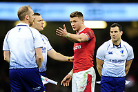 Dan Biggar of Wales speaks to the match officials at full time during the Guinness Six Nations Championship Round 3 match between Wales and France at the Principality Stadium in Cardiff, Wales, UK. Saturday 22 February 2020