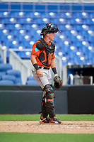 Miami Marlins catcher Keegan Fish (39) during a Florida Instructional League game against the Washington Nationals on September 26, 2018 at the Marlins Park in Miami, Florida.  (Mike Janes/Four Seam Images)