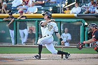 Gary Brown (15) of the Salt Lake Bees at bat against the Fresno Grizzlies in Pacific Coast League action at Smith's Ballpark on June 13, 2015 in Salt Lake City, Utah.  (Stephen Smith/Four Seam Images)