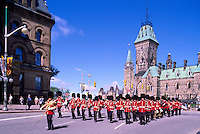 Changing of the Guard Ceremony at the Parliament Buildings on Parliament Hill, in the City of Ottawa, Ontario, Canada - East Block (built 1867 and 1910)