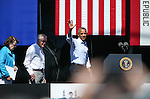 From left, U.S. Sens. Dianne Feinstein, Harry Reid and Pres. Barack Obama wave to the crowd at the 20th annual Tahoe Summit in Stateline, Nev., on Wednesday, Aug. 31, 2016. Obama was the keynote speaker at the annual event which focuses on the environmental protection of Lake Tahoe. Cathleen Allison/Las Vegas Review-Journal