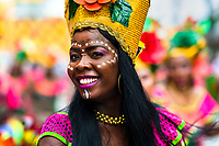 An Afro-Colombian dancer of the Pandeyuca neighborhood performs during the San Pacho festival in Quibdó, Colombia, 29 September 2019. Every year at the turn of September and October, the capital of the Pacific region of Chocó holds the celebrations in honor of Saint Francis of Assisi (locally named as San Pacho), recognized as Intangible Cultural Heritage by UNESCO. Each day carnival groups, wearing bright colorful costumes and representing each neighborhood, dance throughout the city, supported by brass bands playing live music. The festival culminates in a traditional boat ride on the Atrato River, followed by massive religious processions, which accent the pillars of Afro-Colombian's identity – the Catholic devotion grown from African roots.