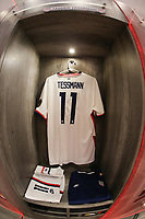 GUADALAJARA, MEXICO - MARCH 24: The locker of Tanner Tessmann #11 of the United States before a game between Mexico and USMNT U-23 at Estadio Jalisco on March 24, 2021 in Guadalajara, Mexico.