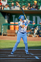 Dillon Paulson (14) of the Ogden Raptors bats against the Helena Brewers at Lindquist Field on July 14, 2018 in Ogden, Utah. Ogden defeated Helena 8-6. (Stephen Smith/Four Seam Images)