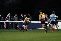 TRY - Louis Molloy of Richmond Rugby is the scorer during the English National League match between Richmond and Blackheath  at Richmond Athletic Ground, Richmond, United Kingdom on 4 January 2020. Photo by Carlton Myrie.