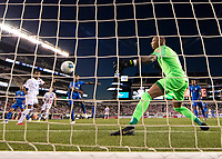PHILADELPHIA, PA - JUNE 30: Weston Mckennie #8 heads the ball into the net past Eloy Room #1 for a goal during a game between Curacao and USMNT at Lincoln Financial Field on June 30, 2019 in Philadelphia, Pennsylvania.