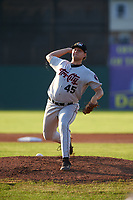 Tri-City ValleyCats starting pitcher Matt Ruppenthal (45) delivers a pitch during a game against the Batavia Muckdogs on July 15, 2017 at Dwyer Stadium in Batavia, New York.  Tri-City defeated Batavia 5-4.  (Mike Janes/Four Seam Images)