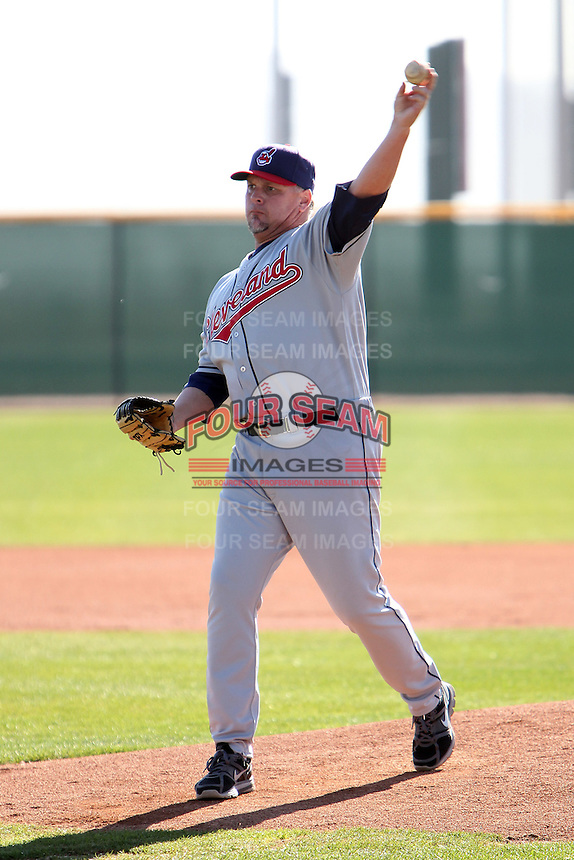 Former major league pitcher Greg Swindell pitches to campers during the Cleveland Indians Fantasy camp at the Goodyear Training Complex in Goodyear, Arizona;  January 18, 2011.  Photo By Mike Janes/Four Seam Images