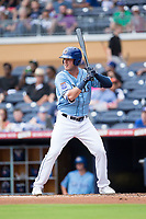 Casey Gillaspie (16) of the Durham Bulls at bat against the Buffalo Bisons at Durham Bulls Athletic Park on April 30, 2017 in Durham, North Carolina.  The Bisons defeated the Bulls 6-1.  (Brian Westerholt/Four Seam Images)