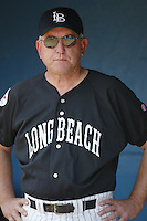 Head Coach Mike Weathers of the Long Beach State Dirtbags before a 2002 season NCAA game at Blair Field in Long Beach, California. (Larry Goren/Four Seam Images)