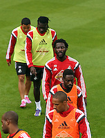 Pictured BACK to FRONT: Jefferson Montero, Bafetimbi Gomis, Wilfried Bony, Nathan Dyer and Wayne Routledge. Thursday 14 August 2014<br />
