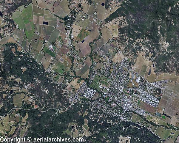 aerial photo map of Calistoga, Napa County, California