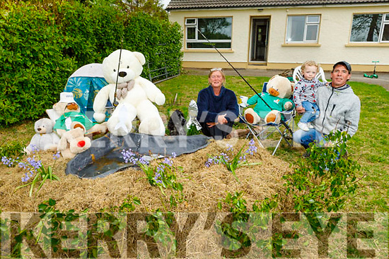 Little Aidan Breen O'Sullivan with help from his dad Niall and Linda Cheek helping the with the Teddy Bear's as they go on a fishing trip as part of the Teddy Bears Ballyhar daily escapades.