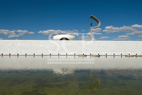 Brasilia, Brazil. The Juscelino Kubitschek Memorial and Mausoleum, designed by Oscar Niemeyer. Kubitschek was the visionary president who made Brasilia a reality.