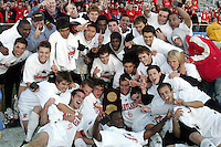 Maryland poses with the NCAA Championship trophy. The University of Maryland defeated the University of New Mexico 1-0 in the NCAA Final at SAS Stadium in Cary, North Carolina, Sunday, December 11, 2005.