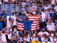SAN PEDRO SULA, HONDURAS - SEPTEMBER 8: Fans cheer before a game between Honduras and USMNT at Estadio Olímpico Metropolitano on September 8, 2021 in San Pedro Sula, Honduras.