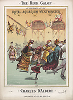 The Rink Gallop as performed at the Royal Aquarium Westminster, composed by Charles d'Albert (1809–1896), score, with an an illustration of the Royal Aquarium skating rink<br /> Date circa 1876