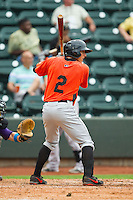 Jerome Peña (2) of the Frederick Keys at bat against the Winston-Salem Dash at BB&T Ballpark on July 21, 2013 in Winston-Salem, North Carolina.  The Dash defeated the Keys 3-2.  (Brian Westerholt/Four Seam Images)