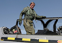 Head of the airline Norwegian, Bjørn Kjos,  arrives as passenger on the Swedish fighter jet JAS Gripen.  The announcement that the airline has chosen to fly from Rygge Airport was made as a large airshow was being prepared for the weekend. The Gripen is one of the aircraft being considered to replace Norway's ageing F-16 Fighters. Norway Bjørn Kjos