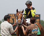Artest, a son of Hard Spun trained by Rick Dutrow Jr. and ridden by Ramon Dominguez, wins race 3, a 5-furlong contest for maiden 2-year-olds at Belmont Park, Elmont, NY on June 10, 2011. (Joan Fairman Kanes/Eclipsesportswire)