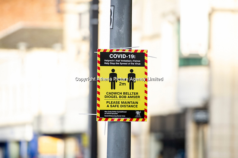 Pictured: A coronavirus notice on display in Cardiff, Wales, UK. Friday 8th January 2021<br /> Re: The whole of Wales in in Tier 4 due to rising Covid-19 Coronavirus cases, Cardiff, Wales, UK.
