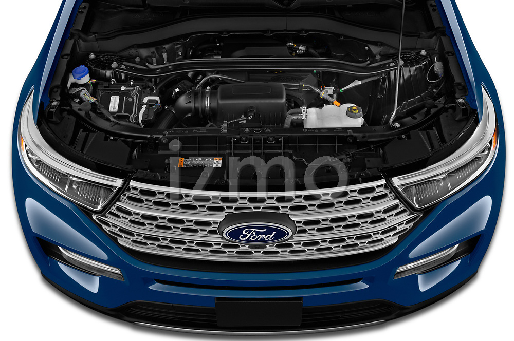 Car Stock 2020 Ford Explorer Limited 5 Door SUV Engine  high angle detail view
