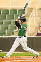 Ben Thomas #25 of the Augusta GreenJackets follows through on his swing against the Kannapolis Intimidators at CMC-Northeast Stadium on May 3, 2012 in Kannapolis, North Carolina.  The Intimidators defeated the GreenJackets 11-1.  (Brian Westerholt/Four Seam Images)