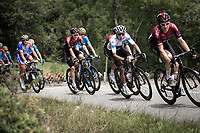 white jersey Egan Bernal (COL/Ineos) following Geraint Thomas (GBR/Ineos) while consuming a banana<br /> <br /> Stage 11: Albi to Toulouse (167km)<br /> 106th Tour de France 2019 (2.UWT)<br /> <br /> ©kramon