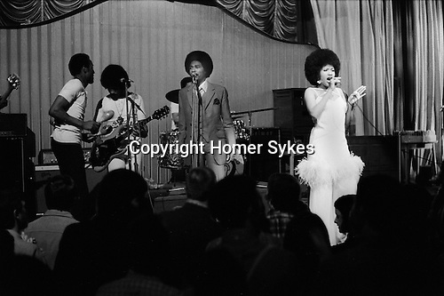 Bob and Marcia. Young Gifted and Black, their first British tour 1970s UK. Boston Lincolnshire. They appeared at the Boston Gliderdrome. <br /> Bob Andy and Marcia Griffiths.