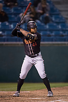 Modesto Nuts right fielder Gareth Morgan (44) at bat during a California League game against the San Jose Giants at San Jose Municipal Stadium on May 15, 2018 in San Jose, California. Modesto defeated San Jose 7-5. (Zachary Lucy/Four Seam Images)