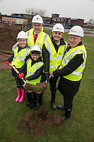 Turning the first sod at the official ground breaking ceremony for the new Flying High Academy are pupils Libby Armitage and Arman Choudhury (both 10) with, from left, Richard Charman of Kier Construction, Head Teacher Tony Warsop and Executive Mayor of Mansfield, Tony Eggington