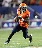 ATLANTA, GA - DECEMBER 31: Perry Jones #33 of the Virginia Cavaliers runs with the ball during the 2011 Chick Fil-A Bowl against the Auburn Tigers at the Georgia Dome on December 31, 2011 in Atlanta, Georgia. Auburn defeated Virginia 43-24. (Photo by Andrew Shurtleff/Getty Images) *** Local Caption *** Perry Jones