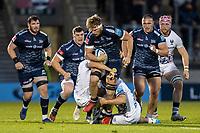 28th May 2021; AJ Bell Stadium, Salford, Lancashire, England; English Premiership Rugby, Sale Sharks versus Bristol Bears; Dan du Preez of Sale Sharks is tackled