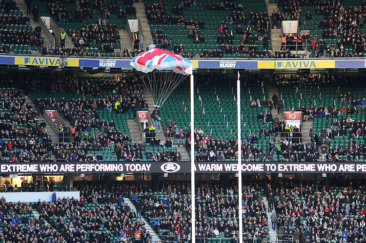 The match ball is delivered by a stunt man during the Aviva Premiership Rugby match between Harlequins and Gloucester Rugby at Twickenham Stadium on Tuesday 27th December 2016 (Photo by Rob Munro/Stewart Communications)