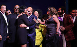 Smokey Robinson, Gladys Knight, Stevie Wonder, Berry Gordy, Diana Ross, Mary Wilson, Valisia LeKae, Brandon Victor Dixon,  & Company  during the Broadway Opening Night Performance Curtain Call for 'Motown The Musical'  at the Lunt Fontanne Theatre in New York City on 4/14/2013..
