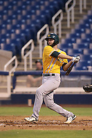 Tom Gavitt (33) of the AZL Athletics bats during a game against the AZL Brewers at Maryvale Baseball Park on June 30, 2015 in Phoenix, Arizona. Brewers defeated Athletics, 4-2. (Larry Goren/Four Seam Images)
