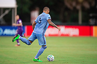 LAKE BUENA VISTA, FL - JULY 14: Alexander Callens #6 of NYCFC passing the ball during a game between Orlando City SC and New York City FC at Wide World of Sports on July 14, 2020 in Lake Buena Vista, Florida.