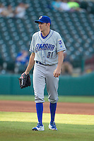 Omaha Storm Chasers pitcher John Lannan (31) walks to the mound during a game against the Oklahoma City Dodgers at Chickasaw Bricktown Ballpark on June 16, 2016 in Oklahoma City, Oklahoma. Oklahoma City defeated Omaha 5-4  (William Purnell/Four Seam Images)