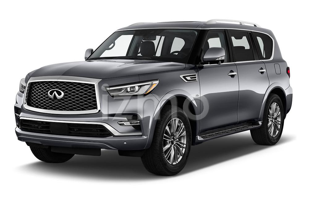 2020 Infiniti QX80 Luxe 5 Door SUV angular front stock photos of front three quarter view