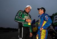 Aug 17, 2014; Brainerd, MN, USA; NHRA funny car driver John Force (left) with Ron Capps during the Lucas Oil Nationals at Brainerd International Raceway. Mandatory Credit: Mark J. Rebilas-