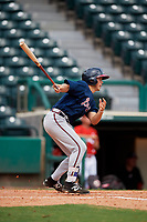 Atlanta Braves Logan Brown (57) follows through on a swing during a Florida Instructional League game against the Canadian Junior National Team on October 9, 2018 at the ESPN Wide World of Sports Complex in Orlando, Florida.  (Mike Janes/Four Seam Images)