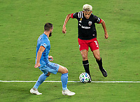 WASHINGTON, DC - SEPTEMBER 06: Maxime Chanot #4 of New York City FC defends Yamil Asad #11 of D.C. United during a game between New York City FC and D.C. United at Audi Field on September 06, 2020 in Washington, DC.