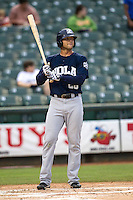New Orleans Zephyrs outfielder Jake Marisnick (28) during the Pacific Coast League baseball game against the Round Rock Express on May 27, 2014 at the Dell Diamond in Round Rock, Texas. The Zephyrs defeated the Express 9-0 in a rain shortened game. (Andrew Woolley/Four Seam Images)
