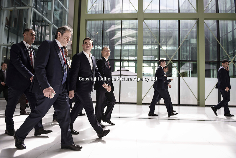 Pictured: Alexis Tsipras (3rd L) is led to the meeting Tuesday 08 March 2016<br /> Re: The Prime Ministers of Turkey Ahmet Davutoglu and Greece Alexis Tsipras have met in Smyrna, Turkey to discuss ways to enhance their cooperation as both countries are grappling with an influx of migrants,