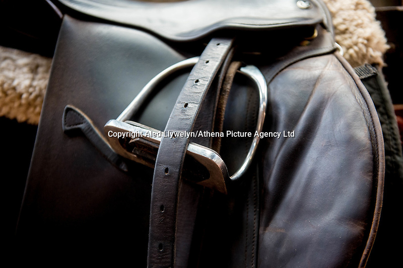 FAO Laura Lean.<br /> Friday 20 January 2017<br /> Pictured: Detail of a saddle <br /> Re: Sue Scourfield's riding school is  being hit by increasing business rates.