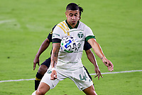 LOS ANGELES, CA - SEPTEMBER 13: Loría #44 of the Portland Timbers during a game between Portland Timbers and Los Angeles FC at Banc of California stadium on September 13, 2020 in Los Angeles, California.